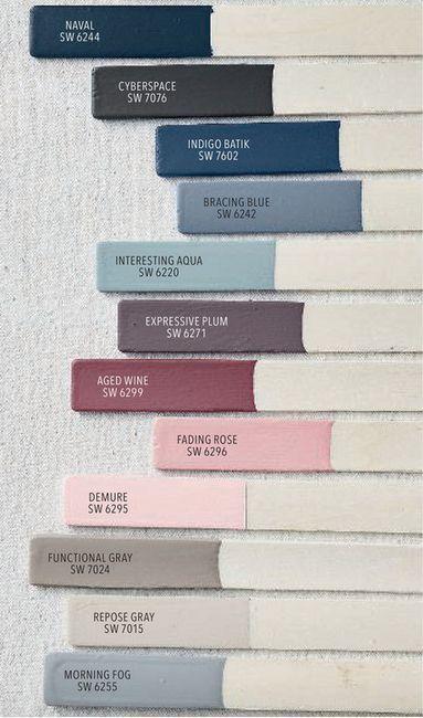 Palette de couleurs de peinture Sherwin Williams Spring 2019 pour Pottery Barn  #couleurs #pa... #paintyourownpottery