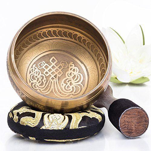 Silent Mind  Tibetan Singing Bowl Set  Bronze Mantra Design  With Dual Surface Mallet a