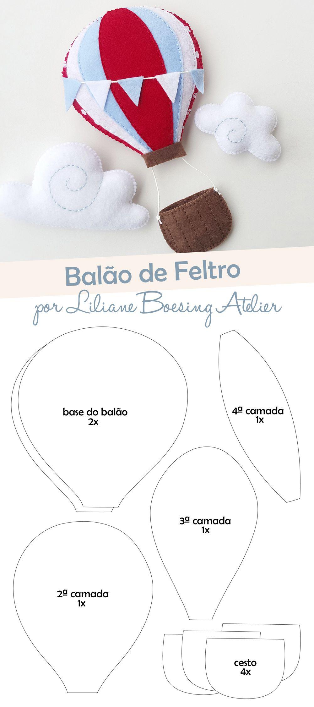 Molde Balao De Ar Quente De Feltro Liliane Boesing Atelier Com