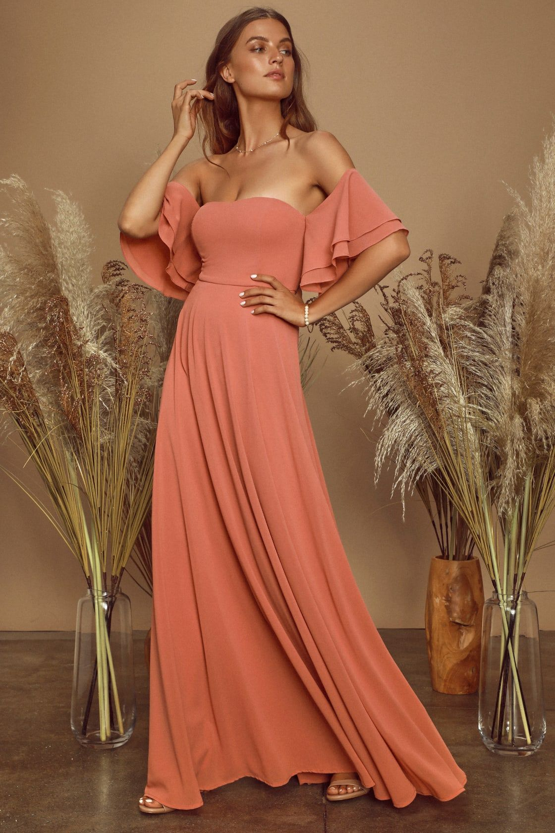 16++ Off the shoulder maxi dress for wedding guest ideas