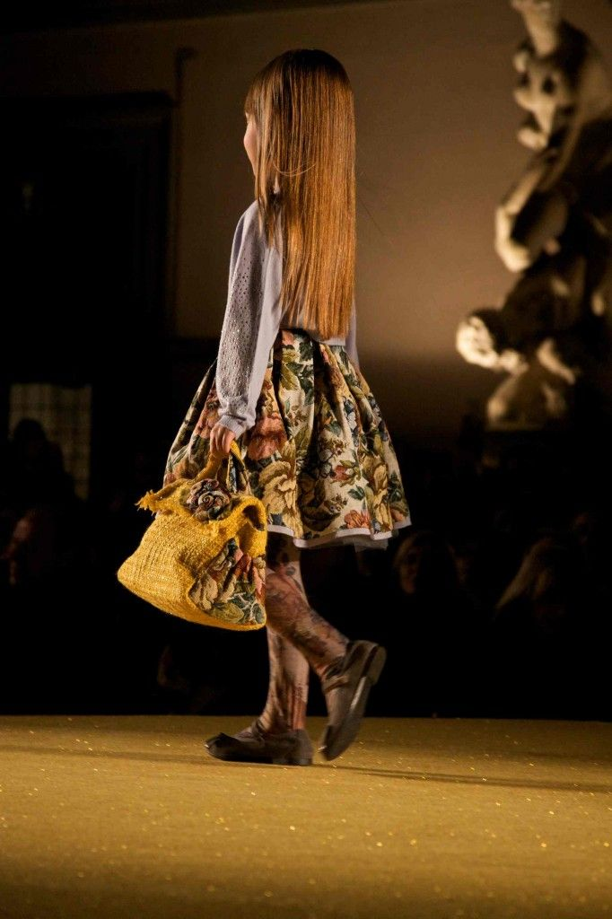 Great tapestry print look for fall/winter 2014 kidswear at Monnalisa's catwalk show in Florence for Pitti Bimbo 78