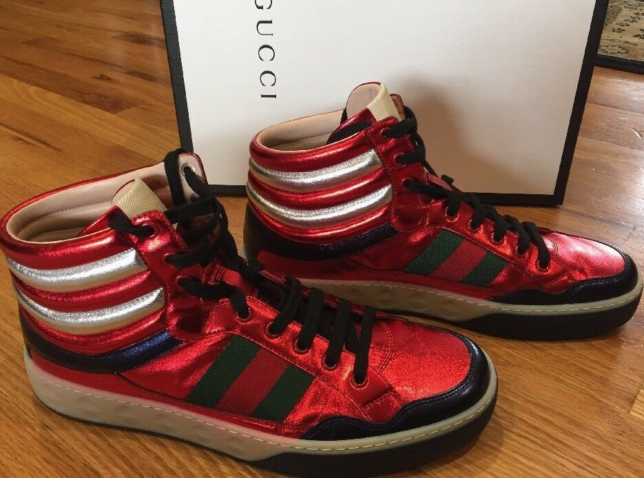 332990222a5 eBay  Sponsored NIB  790 New Gucci Nappa Nottie Red Silk High Top Shoes  Sneakers UK 9   US 10