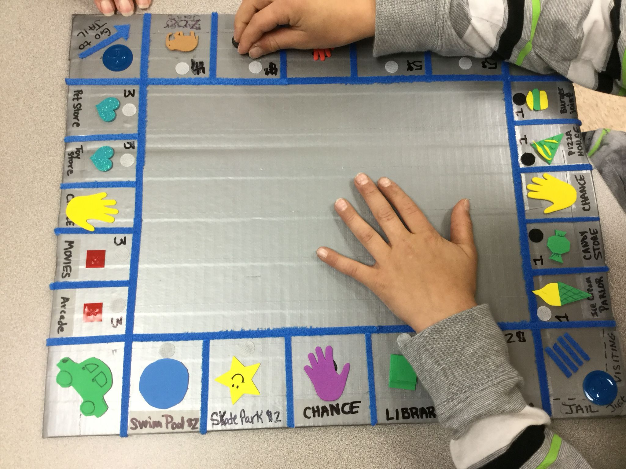Homemade Tactile Jr Monopoly On Cardboard Covered By