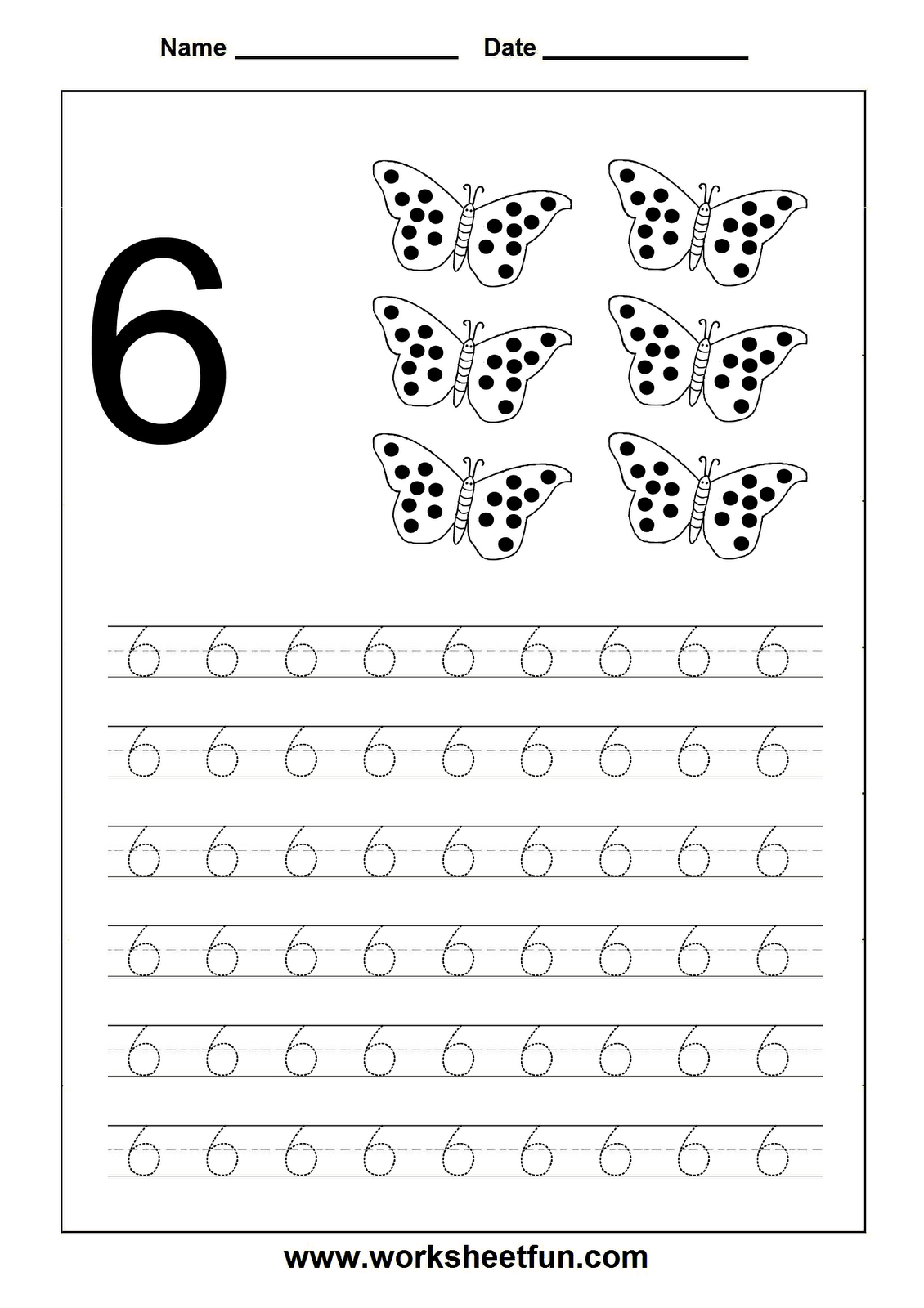 Numbers tracing printables for preschoolers - Number Tracing Worksheet 6