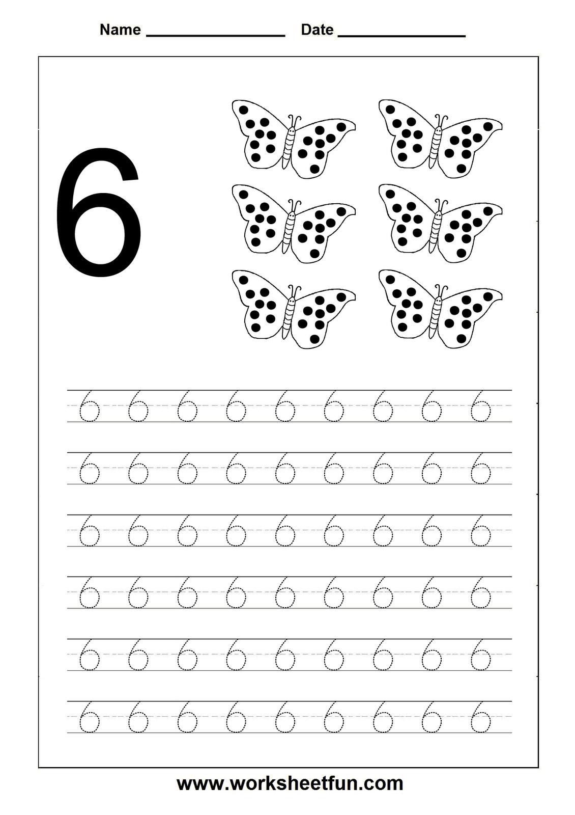 Number Tracing Worksheet 6 Sayilar Pinterest