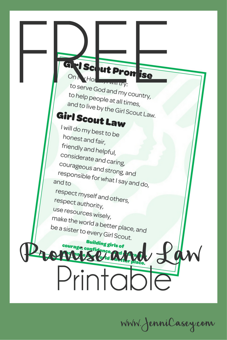picture regarding Girl Scouts Promise Printable called Female Scout Guarantee and Legislation Totally free Printable woman scout