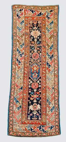 Caucasian-Shirvan-rug  around 1880, ghiordes-knot, worn, damaged, corrected 210*87 cm