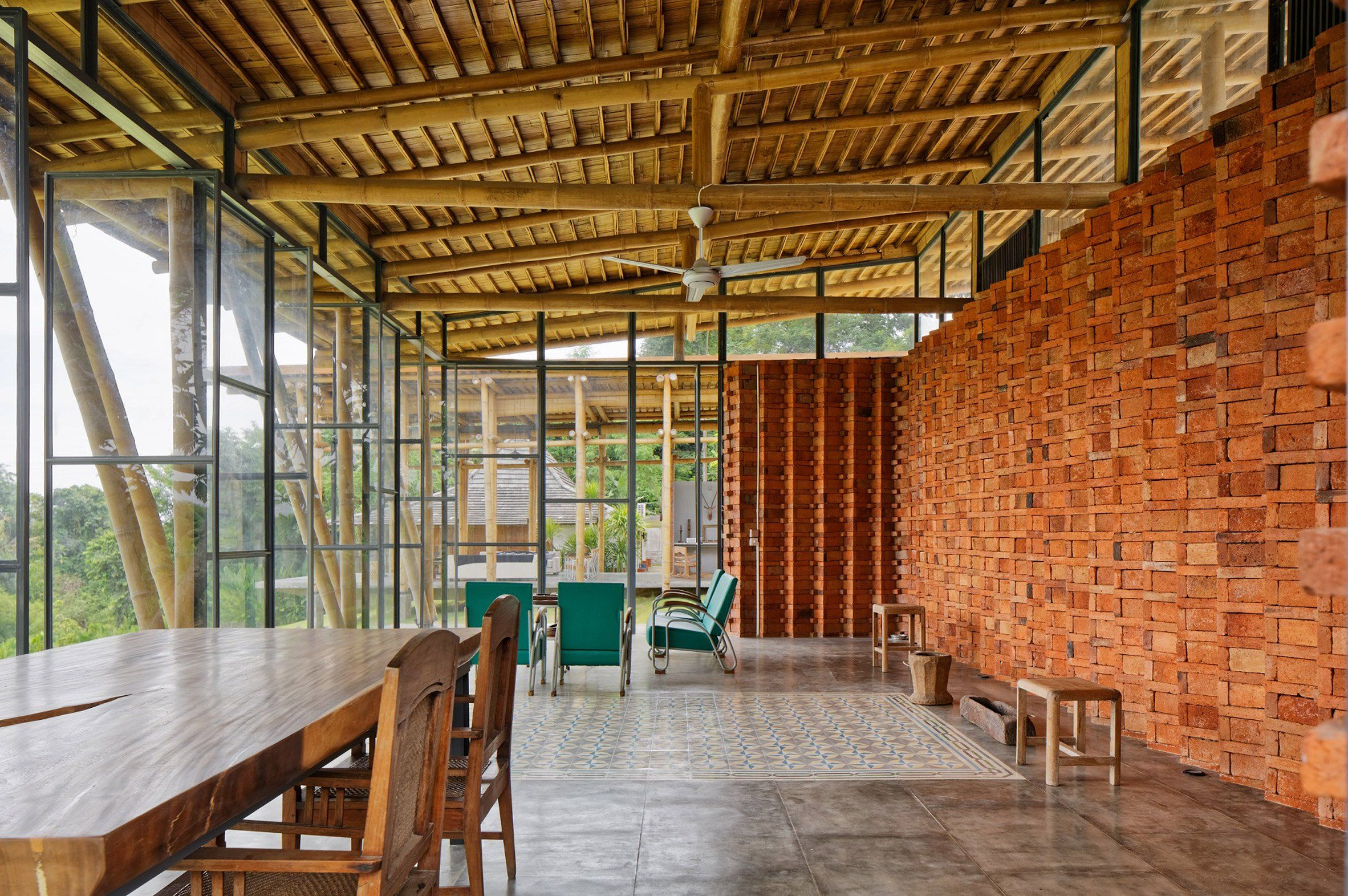 Bamboo Construction Is Used To Create A Complex Roof Incorporating