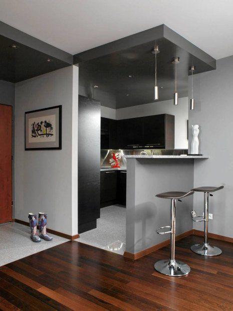 Mieszkanie Optyczna Granice Przedpokoju I Kuchni Wyznacza Podwieszony Sufit Z Halogenowym Oswietleniem Oraz Best Kitchen Designs Kitchen Design Cool Kitchens