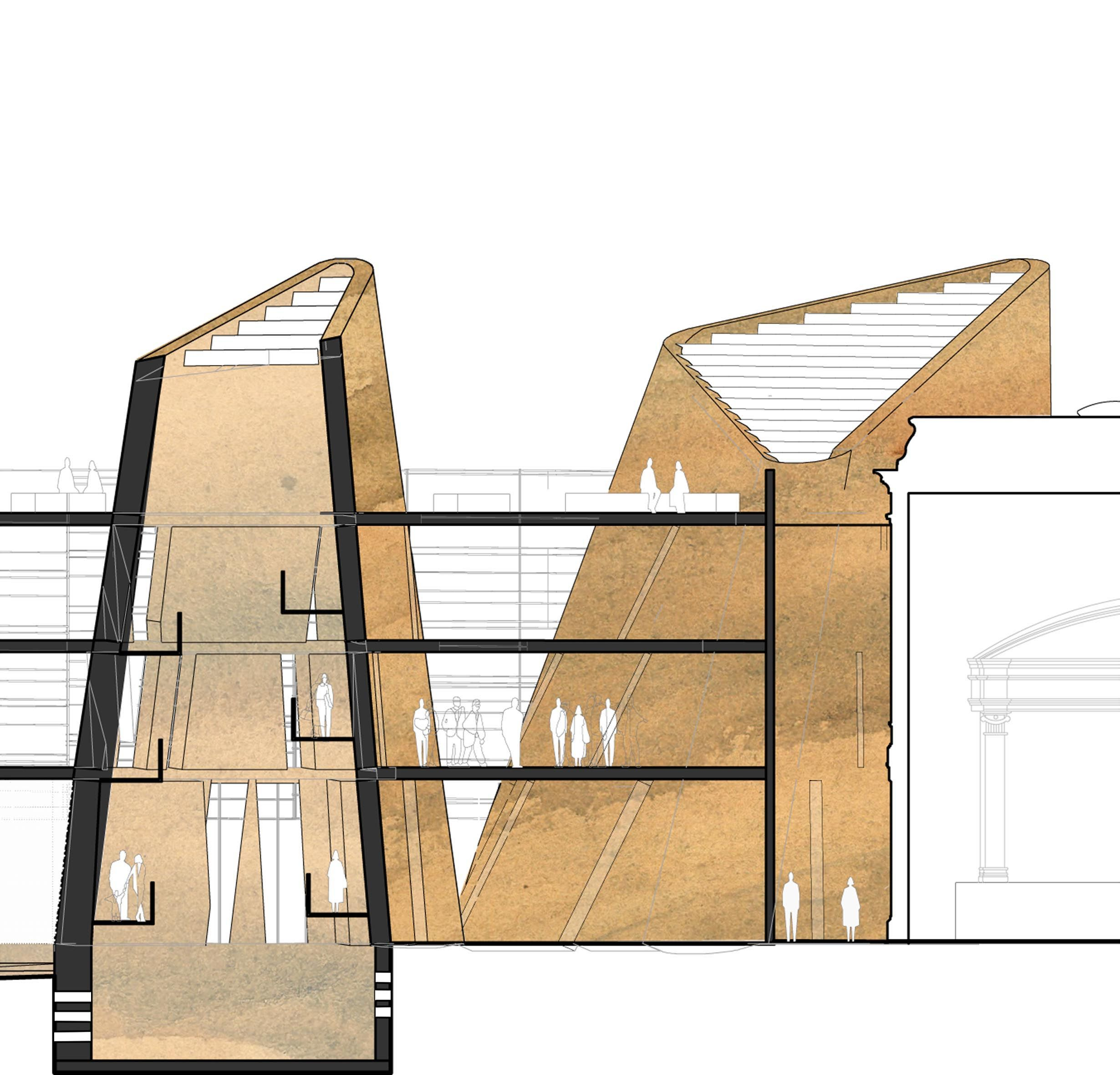 """Rammed earth """"stacks"""", inspired by the environmental system found in ..."""