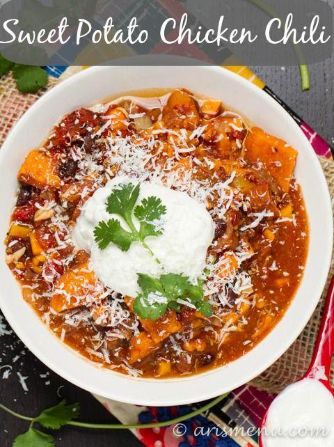 Crockpot Sweet Potato Chicken Chili Ari S Menu Recipe Sweet Potato Chili Food Chicken Sweet Potato