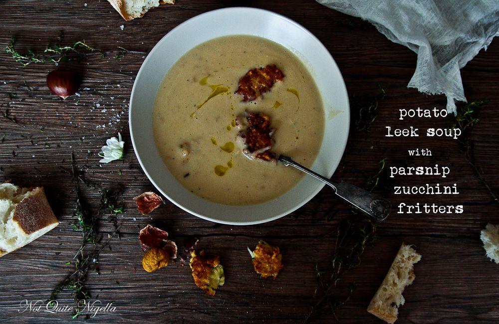 Potato Leek Soup - 1 leek, 1 onion, 2 cloves garlic, potatoes, chicken, sour cream