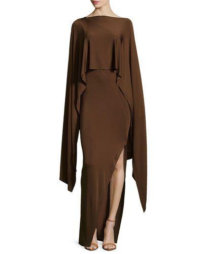 fe3d34f1751 T8Q47 Donna Karan Cape Jersey Evening Gown
