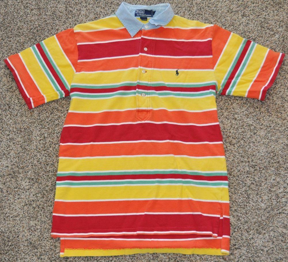 vtg Polo Shirt Striped Men\u0027s MEDIUM M Ralph Lauren Pony Bright Chambray  Collar | Clothing,