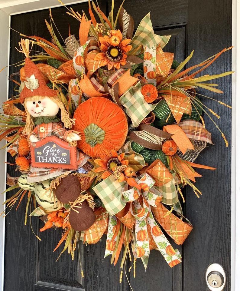 Scarecrow Wreath, Fall Deco Mesh Wreath, Autumn Mesh Wreath, Front Door Wreath, Deco Mesh Wreath, Scarecrow mesh Wreath,scarecrow decor #scarecrowwreath