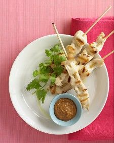 You will need twelve metal or wooden skewers for this dish; soak wooden skewers thoroughly in water before using to prevent them from scorching on the grill.      The peanut-chutney sauce can be refrigerated in a covered container for up to a week. If you like, double the recipe, and serve the extra with grilled pork or as a dipping sauce for shrimp.