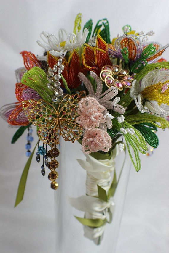 French Wired Beaded Glass Flower Wedding Bouquet One by BonTonChic ...