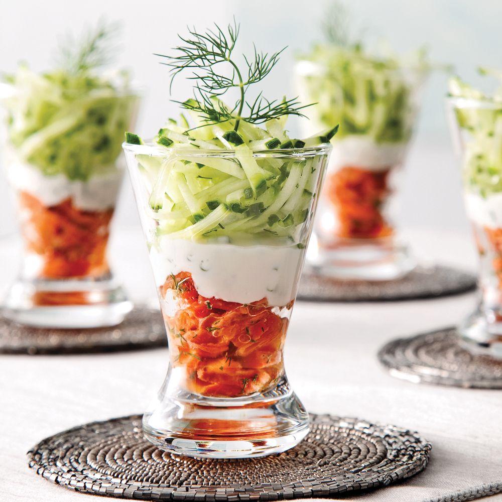 Étagé de saumon fumé et julienne de concombre - Recettes - Cuisine et nutrition - Pratico Pratique