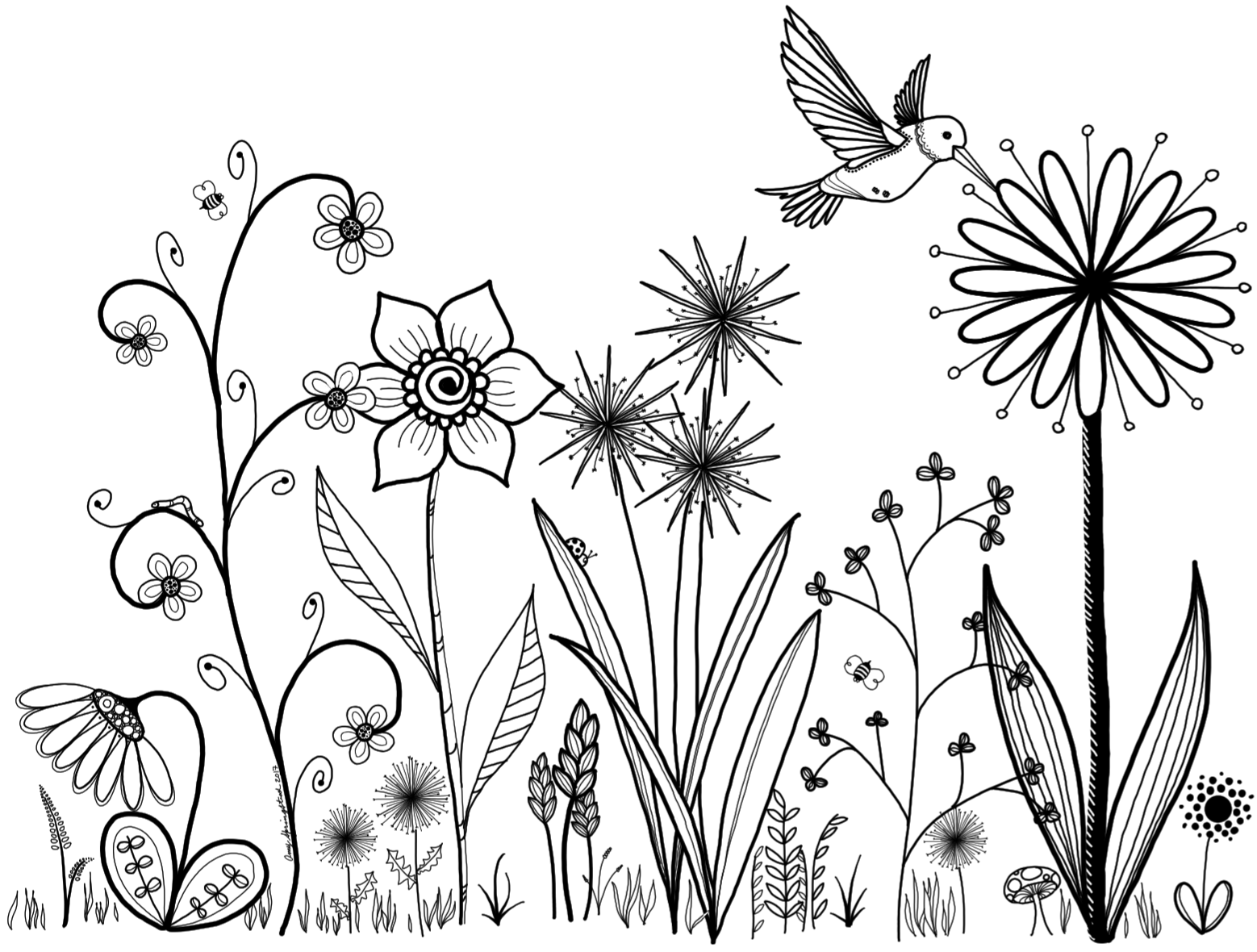 My Original Art Inspired By Many Doodle Flower Line