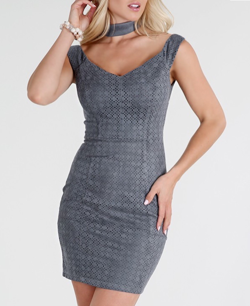 Grey Suede Off Shoulder Dress