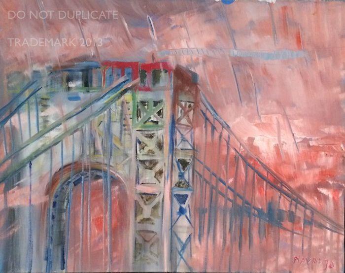 Navahjo Stoller Oil Paintings Hudson Heights George Washington Bridge Piantings Gwb Contemporary Modern Art