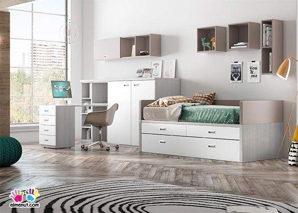 Habitación juvenil con cama nido con dos cajones y somier de ...