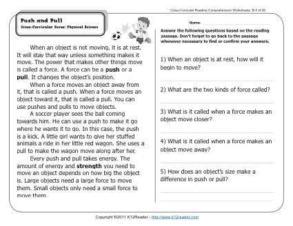 push and pull k12 2nd grade reading comprehension reading comprehension worksheets. Black Bedroom Furniture Sets. Home Design Ideas