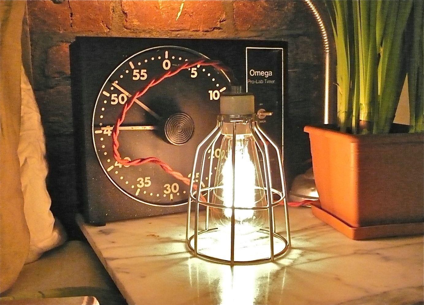 SILVER BIRDCAGE LAMP w/ Ceramic Socket via Etsy.