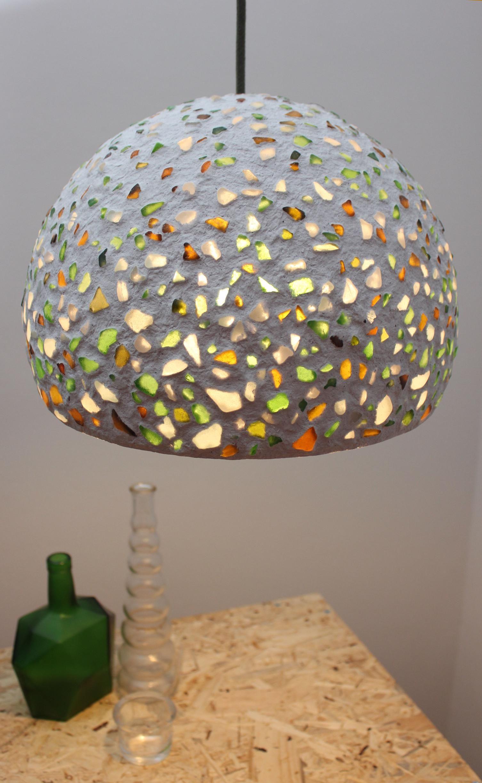 Paper Mache Pendant Light With Sea Glass Recycled White Paper Genuine Sea Glass Eco Friendly Handmade 30 Cm 12 Inches Diameter Diy Lamp Shade Paper Mache Paper Mache Crafts