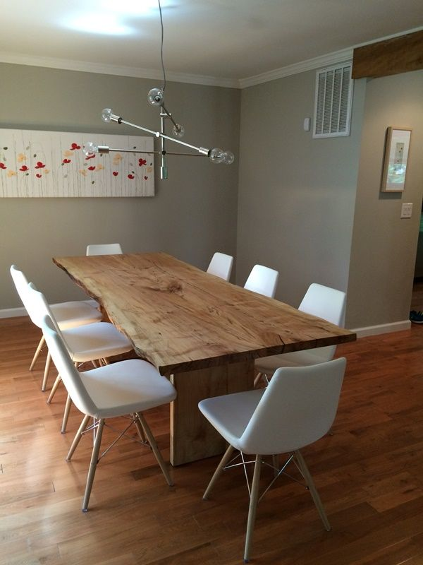 Solid Wood Live Edge Maple Dining Table From Salvaged Urban