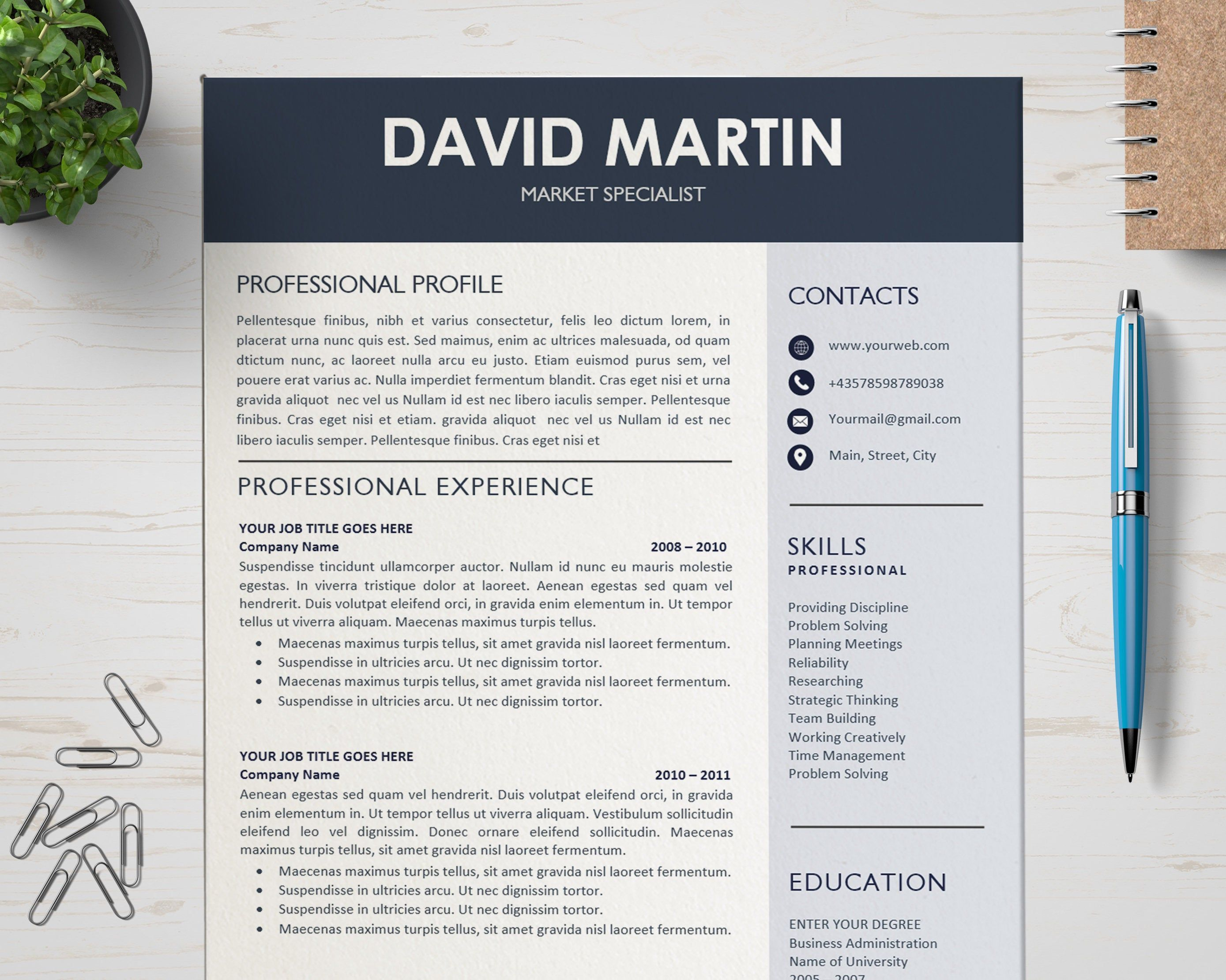 Creative resume template cv design layout for mac and pc