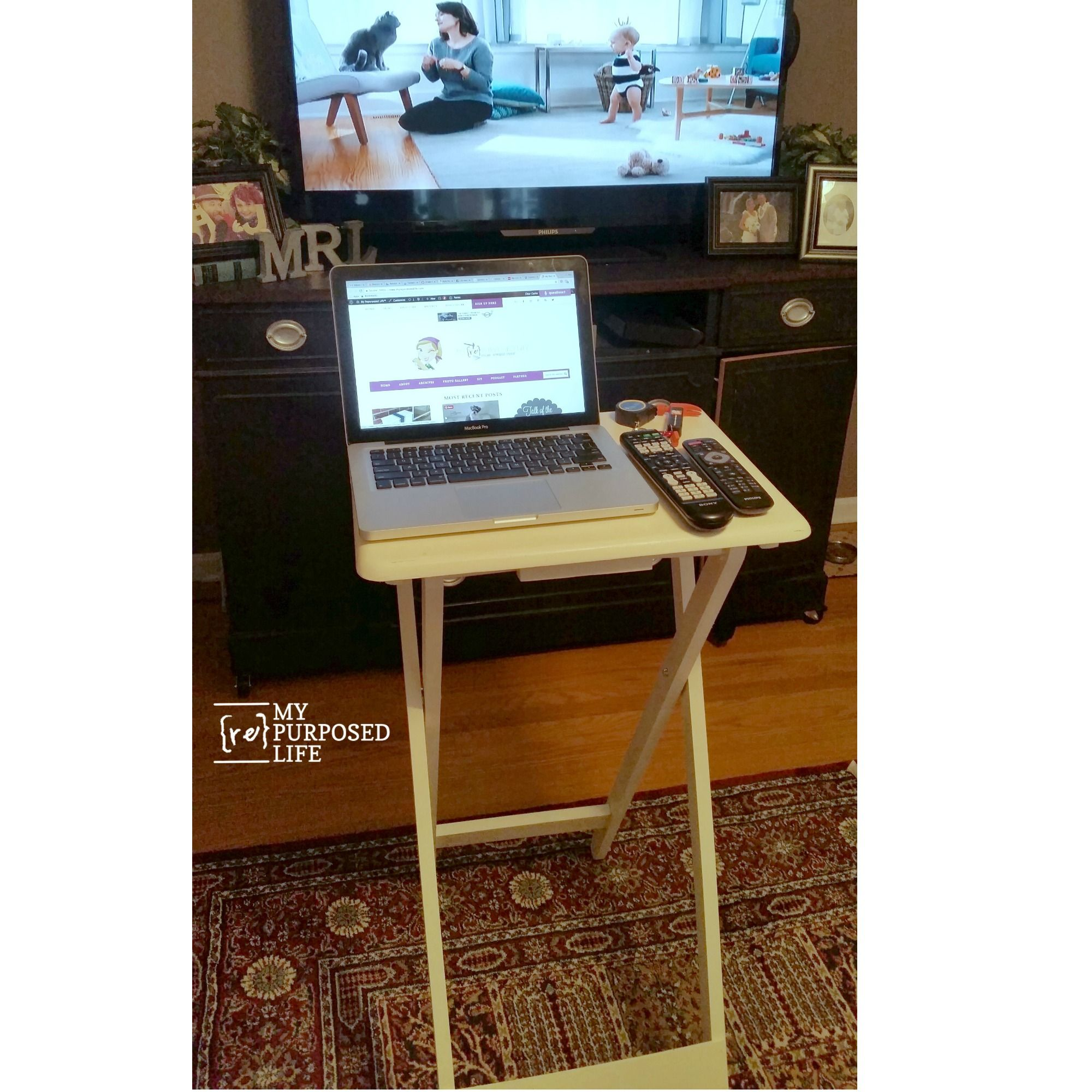How To Make A Standing Laptop Table Out Of A T.v. Tray Table. Add Longer