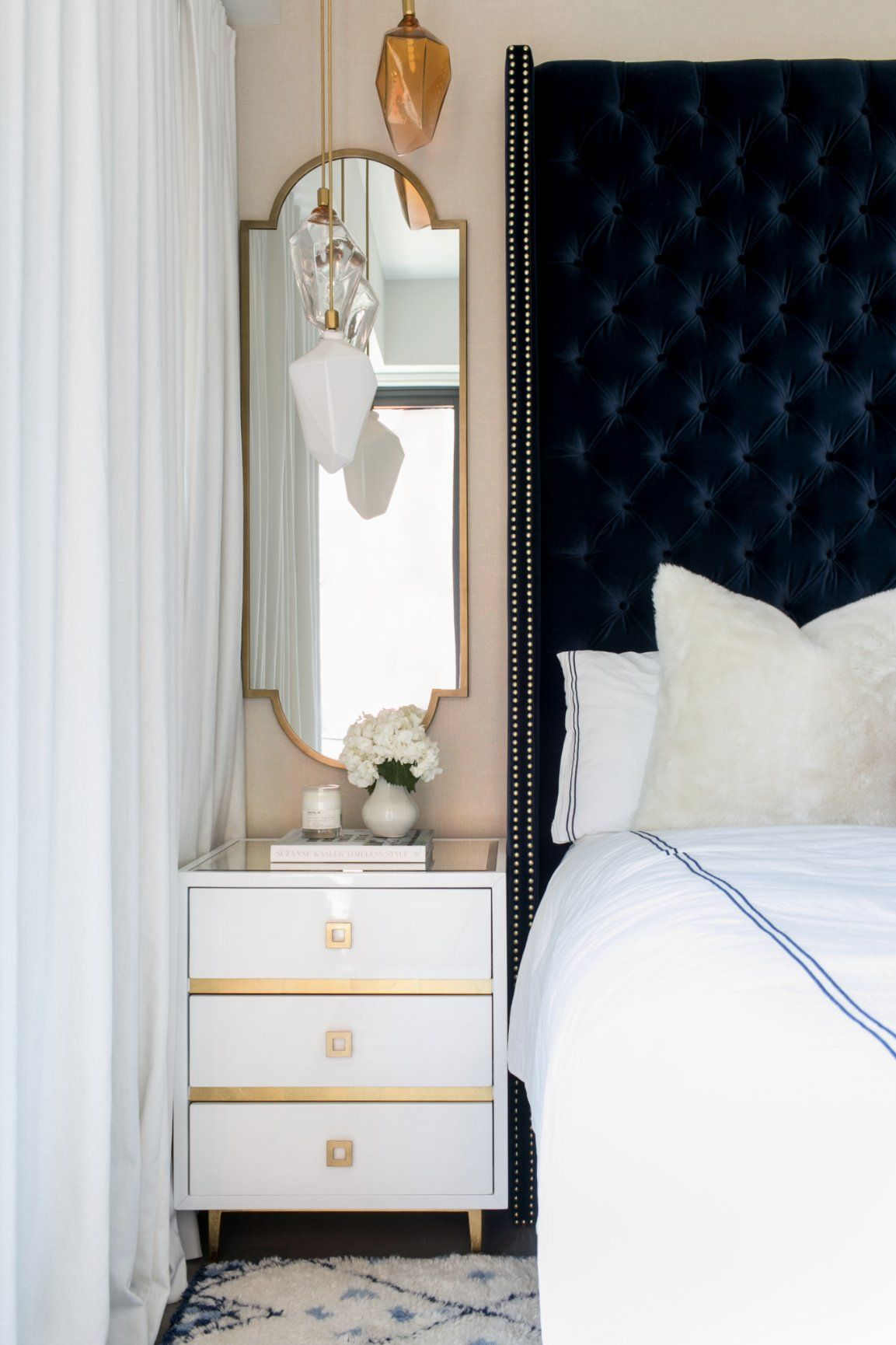 Navy velvet head board, tall headboard bed, mirror over