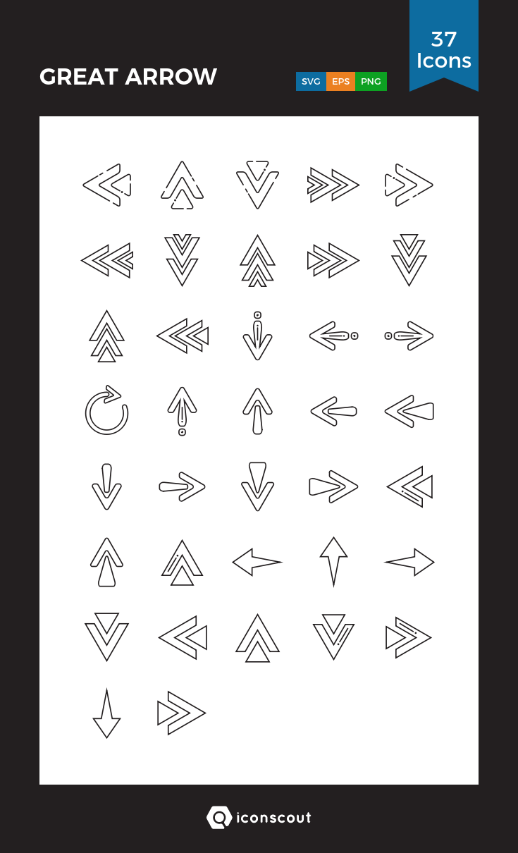 GREAT ARROW Icon Pack 37 Line Icons Icon pack, Icon