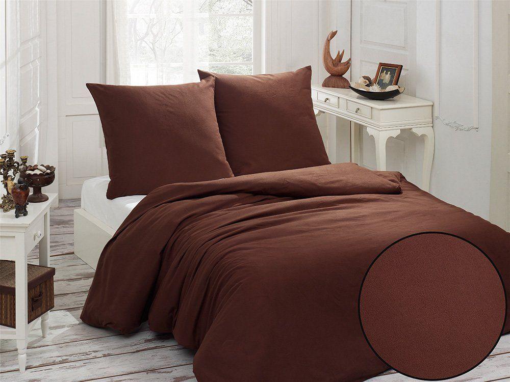 3 Tlg Flanell Biber Baumwolle Bettwasche 200x220 Cm Uni Braun Neu