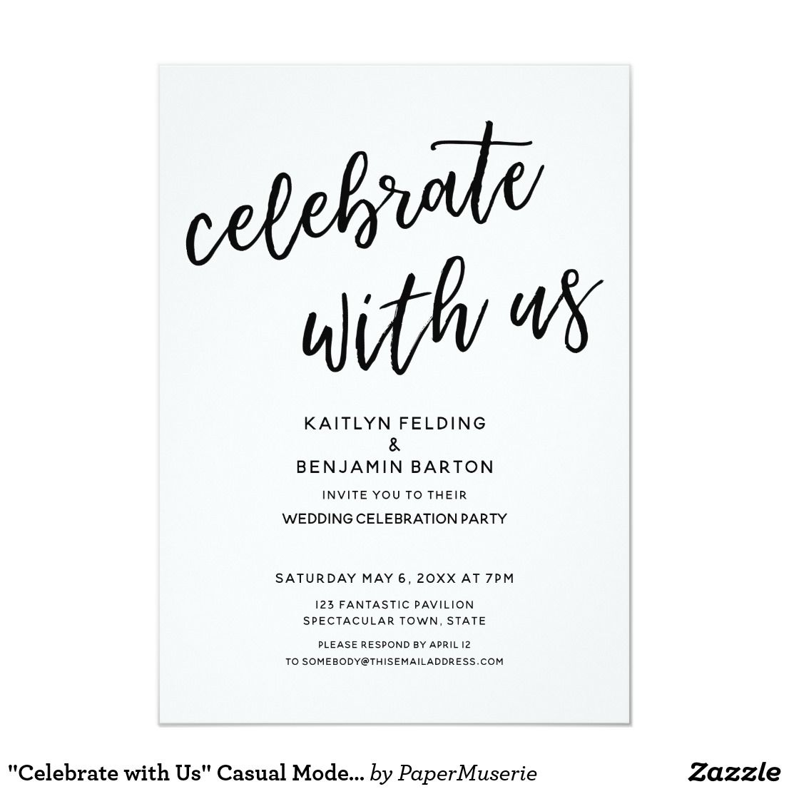 Celebrate With Us Casual Modern Wedding Party Invitation Zazzle Com Wedding Party Invites Wedding Reception Invitations Wedding Party Cards