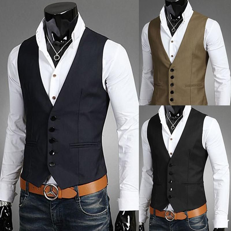 Discount Men Vests Outerwear Mens Vest Man Casual Suits Slim Fit ...