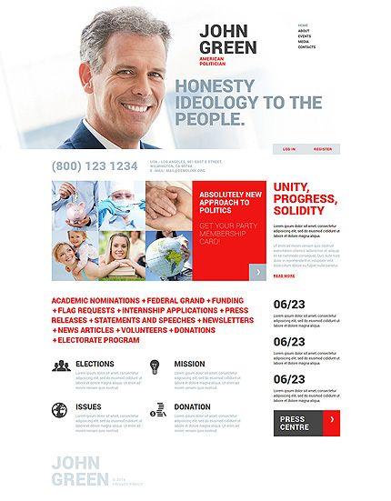 Website Template John Green Politician Political Organization - Political website templates
