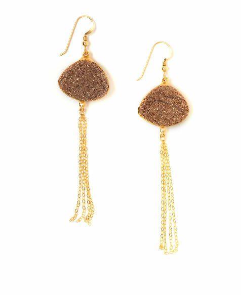 Robyn Rhodes 'Genevieve' Druzy Chain Tassel Earrings
