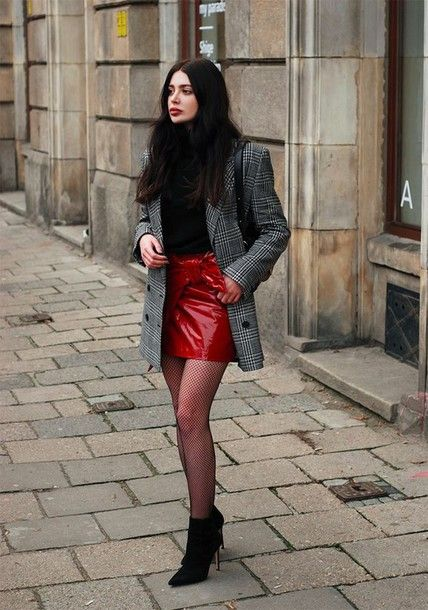 Skirt: tumblr mini red vinyl vinyl wrap tights net tights fishnet tights  boots black boots ankle