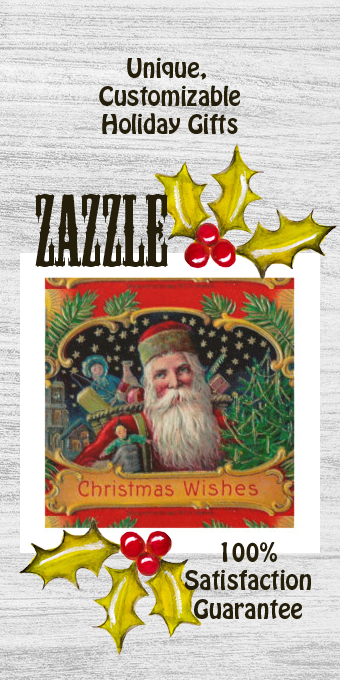 Victorian St. Nick with Gold Stars and Toys Wood Print |  Victorian St. Nick with Gold Stars and Toys Wood Print