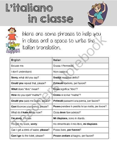 English In Italian: FREE! English / Italian Classroom Language (Teacher) From