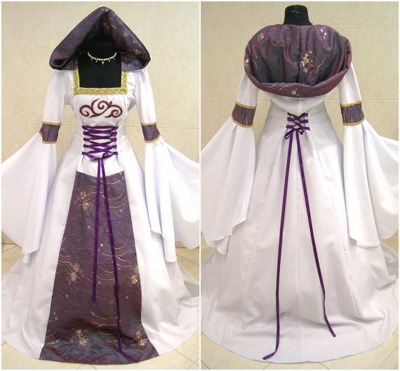 CUSTOM made purple medieval dress goth witch tudor renaissance costume handfasting wicca celtic victorian LARP LOTR