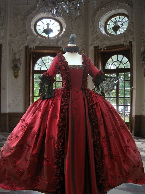 Slim and Tall Georgian Colonial Rococo Marie Antoinette Evening Gown in Deep Red Taped Taffeta. FULLY CORSETED
