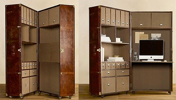Nifty home office packaged in a steamer trunk. For those who telecommute, this is a pretty chic option.