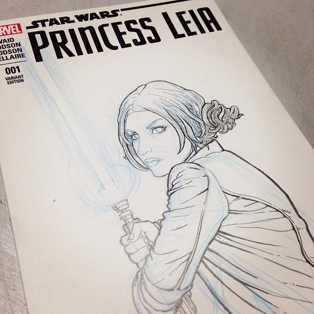 It's been a long time since I watched #episode4 and it's a damn fine movie.  It was running in the background while I worked on this. Who's NOT revving up for #starwars this week??? ⚔⚔⚔⚔⚔ #princessleia #commission #comic #art #jedi #love #drawing #hair #sketch #muzgirl #lightsaber #skywalker