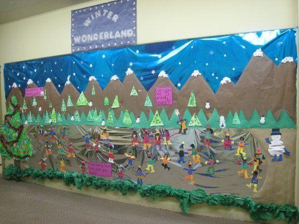 Winter wall mural decoraci n para el aula invierno for Classroom mural