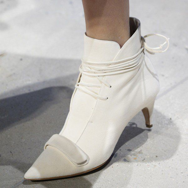 b061320e1cab White Fashion Boots Kitten Heel Pointy Toe Strappy Ankle Booties image 1