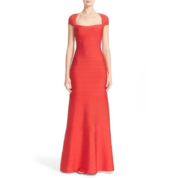 Women's Herve Leger Open Back Bandage Gown ($1,590) ❤ liked on Polyvore featuring dresses, gowns, bright poppy, trumpet dress, open back dresses, bandage dress, herve leger dress and red gown