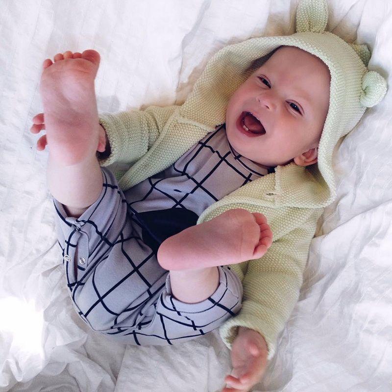 Ropa de bebé Niño Bebé Recién Nacido Lindo Oso de Dibujos Animados Mono A Cuadros  Mameluco d7fee3b829a